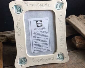 Beach wedding gift, nautical Blue seashell picture frame, ceramic picture frame, handmade pottery, picture frame, nautical wedding gift