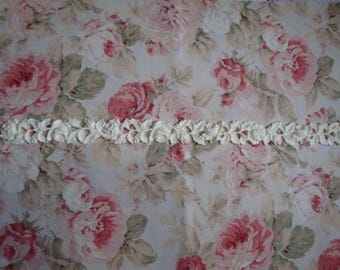 """Antique Carved Roses & Leaves Moulding Trim 30"""" to 34 1/4"""" Length Furniture Applique Architectural Onlay"""