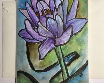 Purple Waterlily Flower Hand-painted Watercolor Card with Original Painting, Handmade Art Notecard