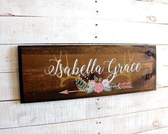 Antlers With Flowers Arrow Personalized Sign   Girls Name Personalized Rustic Wood Sign   Custom Sign   Rustic Nursery or Girls Room Decor