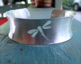 Silver Plated Dragonfly Cuff Bracelet