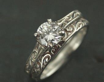 Art Nouveau Engagement Ring Set~Elegant Ring~Flourish Cathedral~Cathedral Solitaire~Vintage Style Rings~Silver Bridal Set~Art Nouveau Bridal