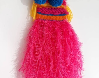 Colourful wallhanging handmade with zingy bright yarns with pom pom and fringe detail.Beautiful wall decor for any room in your home