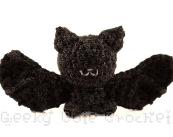 Silver Haired Bat Amigurumi Cute Black Bat Crochet Toy Stuffed Animal