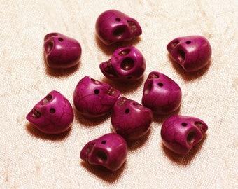 10pc - beads skulls Turquoise 14mm Purple Rose 4558550029997 skulls