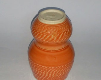 Orange Bedside Carafe and Cup with Chattered Texturing -  Wheel Thrown Pottery -  No need to get out of bed for a sip of water!