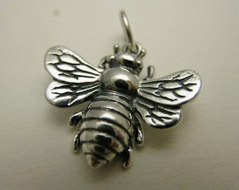 925 Sterling Silver Large Bumble Bee Charm, Boxed!