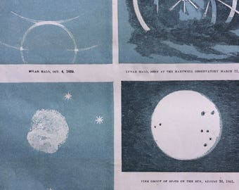 1862 Original Antique Lithograph - Solar Halo, Lunar Halo, Magelannic Clouds, Saturn & seven satellites - Astronomy - Astrology - Planet