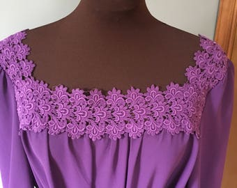 Vintage 1980s Deep Purple Sheer Dress