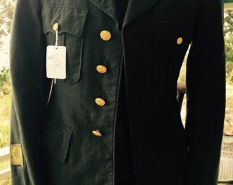 Vintage dark green WWII army coat