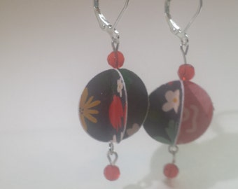 Black with Flowers Paper Earrings Silver French Clips with Red Crystal Beads Gift for Her by hipknitta