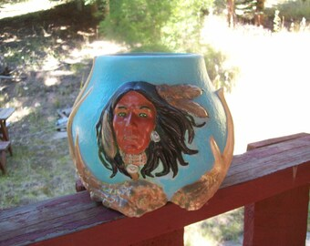 Blue bowl, southwest design,  Native American Indian style Bowl,  Housewarming gift,  Antlers, Home Decor, Gift, Hand Painted, Ceramic