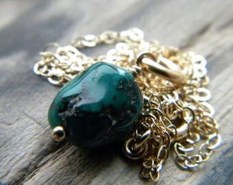 December birthstone - Blue green turquoise nugget 14k gold filled necklace - handmade Southwestern semiprecious gemstone jewelry