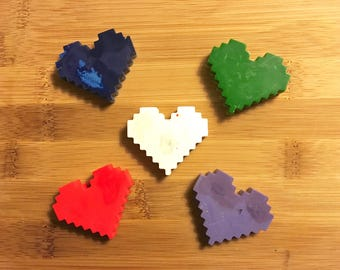 Minecraft Hearts Recycled Crayons   Upcycled, Recycled Crayons, Eco Friendly Crayons