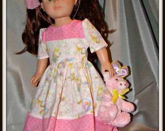 """Easter Dress, Spring Outfit & Easter Doll PET TOO; for American Girl Style 18"""" Dolls! School and Dress Up Holiday Doll Clothes."""