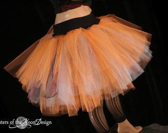 Three Layer tulle tutu skirt adult Petticoat fire dancer Lava orange silver black dance costume cosplay halloween  - You Choose Size - SOTMD
