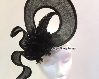 Black fascinator sinamay modern fashion hats