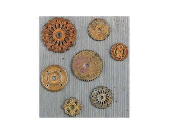 Clock Gears Clock Parts Clock Mechanism Brass Gears Rusty Metal Gears Steampunk Gears Assorted Gears Washers 7 pieces PREORDER