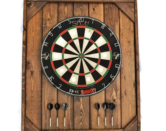 English Chestnut stained Dart Board Backboard / Dart Cabinet