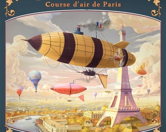 Digital print advertising an airship race over Paris