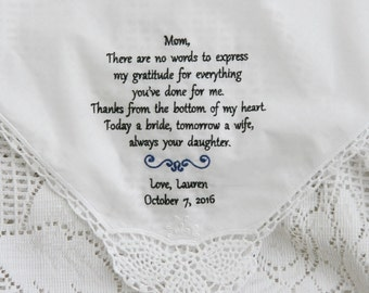 Gratitude-Today A Bride-Gift To Mom From Bride- Embroidered Personalised Wedding Handkerchief