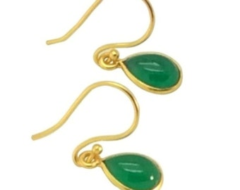 Green onyx gemstone tear drop earrings, Green gold jewelry, Gifts for girlfriend, Christmas gifts for mom, Dainty gold  earrings
