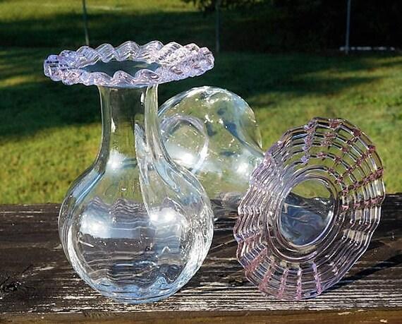 Victorian Stevens Williams Threaded Art Glass Vases Carder Design