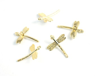 5 pcs- Matte Gold  plated Dragonfly Charm-20mm*12mm (019-030GP)