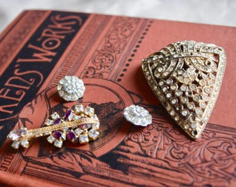 Vintage Rhinestone Lot, Jewelry Making Lot, DiMario Violin Earring, Jewelry gift for her