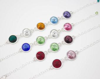 Mother's Bracelet, Mother's Day Gift, Birthstone Crystal Bracelet Choose Your Colors