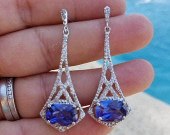 Beautiful Vintage Sterling silver and blue, and clear stone dangle earrings in Excellent Condition~ Perfect Wedding Earrings
