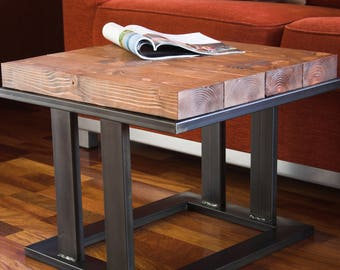 Coffee table aged natural wood side table metal legs iron table wooden table