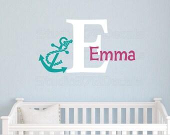 Girls Anchor Name Wall Decal | Nautical Nursery Decor | Seaside Decor | Nautical Kids Decor | Beach Wall Decal | Personalized Name Decal