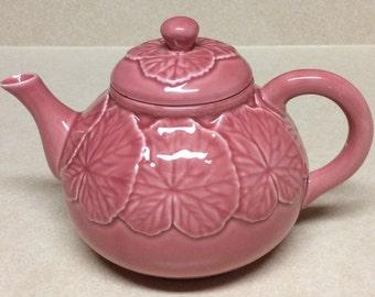 Vintage Bordallo Pinheiro Geranium Pink Teapot Made In Portugal