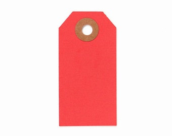 RED hang tags - 20  red gift tags - red cardstock tags 2 3/4 x 1 3/8 - wedding favor tags, gift tags, parcel tags, hang tags