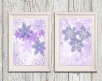 Purple flower prints Set of 2 Lilac Nursery flower wall art Lavender Nursery decor 5x7 8x10 Home decor Lilac Floral Art Canvas art DOWNLOAD