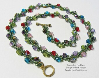 Serpentine Beadwoven Necklace Handmade Multi