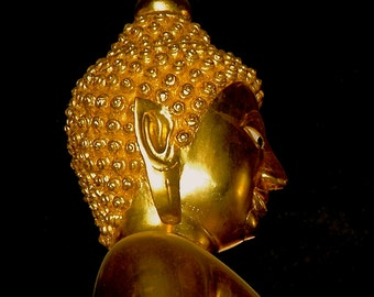 Golden Image of The Buddha in a Temple in  Chaing Mai, Thailand-Fine Art Photo Blank Greeting Card--Suitable for Framing-Copyright Protected