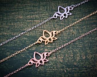 Silver Lotus Bracelet, Yoga Bracelet, Lotus Bracelet, Flower Bracelet, Silver Yoga 1