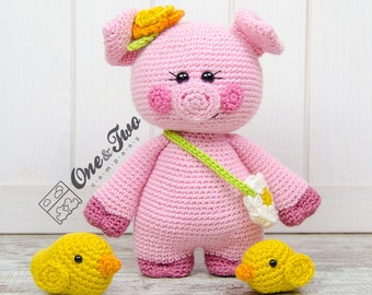 "Poppy the Sweet Piggy and Friends ""Little Explorer Series"" Amigurumi - PDF Crochet Pattern - Instant Download - Amigurumi Cuddy Stuff"