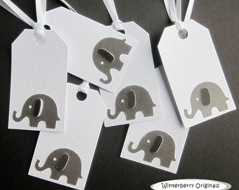 Elephant Gift Tags - Large Gray Elephant on White - Set of 6