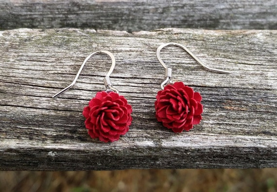 Dahlia Earrings. CHOOSE YOUR COLORS. Bridesmaid Gift, Bridal, Christmas, First Anniversary, Mother's Day. Unique
