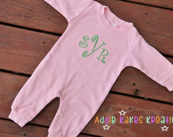 Monogrammed Baby Sleeper / Girl or Boy Colors
