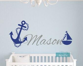 Name wall decal Nautical wall decal Sailboat Anchor wall decal Boys nursery