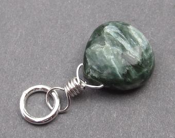 Seraphinite Bracelet Charm, Seraphinite Pendant, Sterling Silver Wire Wrapped Pendant, Seraphinite Necklace Pendant, Stones 19