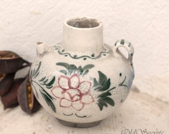 Antique Ceramic Vase, Hand Painted Pitcher, Glaze Floral Pottery Vase, Rustic Small Flower Vase, Handmade Pottery, Bud Vase, Home Decor