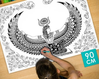Poster / Poster deco coloring (90cm) Isis - coloring for adults