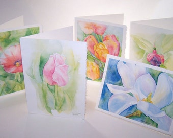 Watercolor Floral Gift Cards Set