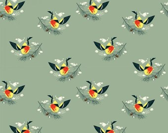 Western Tanager- Organic Cotton Fabric - Charley Harper Western Birds for Birch Fabrics