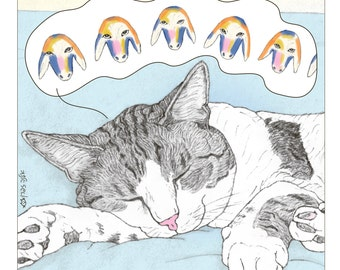 Cats print - 'Kadishman' - featuring Spageti, the famous Israeli cat from Ha'aretz Newspaper Comics